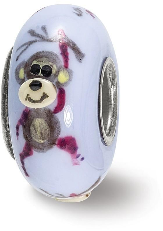 Sterling Silver Reflections Hand Painted Monkey, Purple Glass Bead