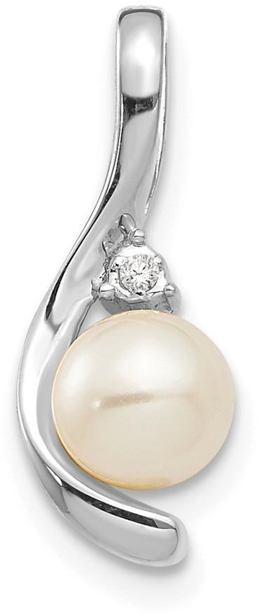 14K White Gold Cultured Freshwater Pearl Diamond Pendant XBS387