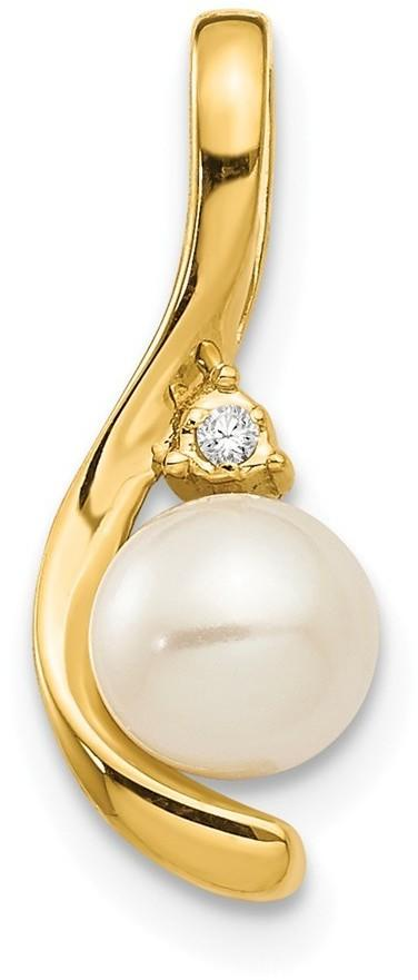 14K Yellow Gold Diamond & Cultured Freshwater Pearl Pendant XBS423