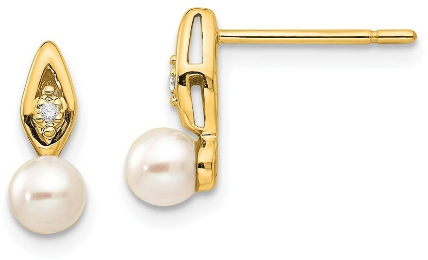 14K Yellow Gold Cultured Freshwater Pearl Diamond Earrings