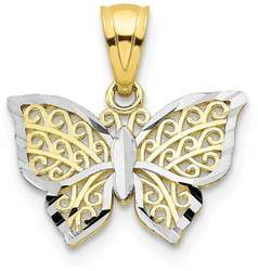 10k Yellow Gold with Rhodium-Plating Butterfly Pendant 10C1001