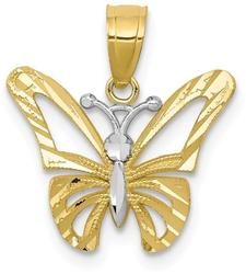 10k Yellow Gold with Rhodium-Plating Butterfly Pendant 10C1005