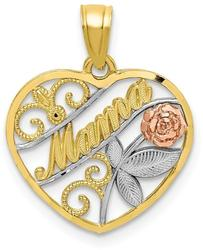 10k Yellow & Rose Gold with White Rhodium Mama Pendant