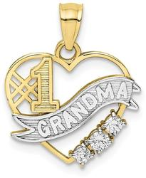 10k Yellow Gold with Rhodium-Plating CZ #1 Grandma in Heart Pendant