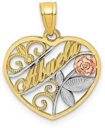 10k Yellow & Rose Gold with White Rhodium Abuela Pendant