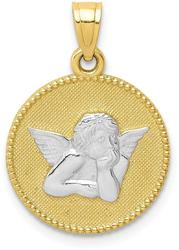 10k Yellow Gold with Rhodium-Plating Polished & Textured Angel Pendant 10C1366
