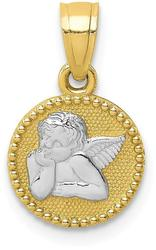 10k Yellow Gold with Rhodium-Plating Polished & Textured Angel Pendant 10C1367