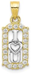 10k Yellow Gold with Rhodium-Plating CZ I Love You Pendant