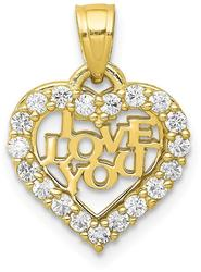 10k Yellow Gold Small CZ I Love You Heart Pendant