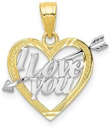 10k Yellow Gold with Rhodium-Plating I Love You Heart Pendant