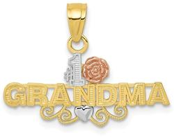 10k Yellow & Rose Gold with White Rhodium #1 Grandma Pendant