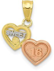 10k Yellow & Rose Gold with White Rhodium Small Sweet 16 Pendant