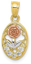 10k Yellow & Rose Gold with White Rhodium CZ Rose Pendant