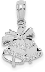 10k White Gold Polished Christmas Bells Pendant