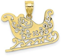 10k Yellow Gold Polished Sleigh Pendant