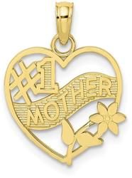10k Yellow Gold #1 Mother in Heart Frame Pendant