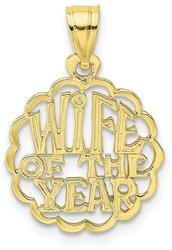 10k Yellow Gold Wife of the Year Pendant