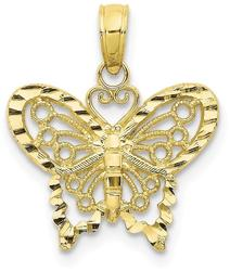 10k Yellow Gold Shiny-Cut Butterfly Pendant 10D4207