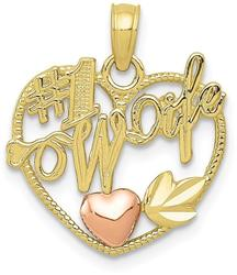 10k Yellow & Rose Gold #1 Wife in Heart with Heart Pendant