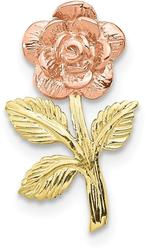 10k Rose & Yellow Gold Rose Flower Slide Pendant