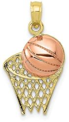 10k Yellow & Rose Gold Basketball Hoop with Ball Pendant
