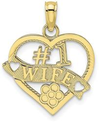 10k Yellow Gold #1 Wife Heart Pendant