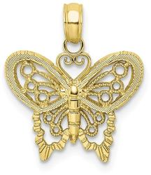 10k Yellow Gold Polished Butterfly Pendant