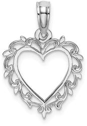 10k White Gold Heart w/ Lace Trim Pendant