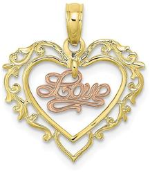 10k Yellow & Rose Gold Love In Heart Pendant