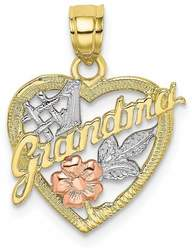 10k Yellow & Rose Gold with White Rhodium #1 GRANDMA In Heart Pendant