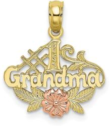 10k Yellow & Rose Gold #1 GRANDMA w/ Flower Pendant