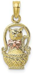 10k Yellow & Rose Gold Cat w/ Bow In Basket Pendant