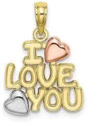 10k Yellow & Rose Gold w/ Rhodium I LOVE YOU w/ Hearts Pendant