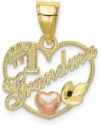 10k Yellow & Rose Gold #1 GRANDMA In Heart Frame Pendant