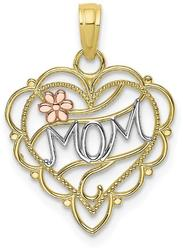 10k Yellow & Rose Gold with White Rhodium Mom Heart w/ Flower Pendant