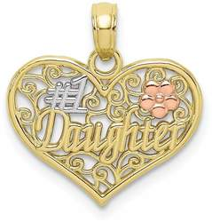 10k Yellow & Rose Gold w/ White Rhodium #1 DAUGHTER In Heart w/ Flowers Pendant
