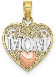 10k Yellow & Rose Gold with White Rhodium Polished MOM & Heart in Heart Pendant