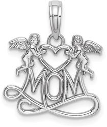 10k White Gold Polished MOM w/Heart & Angels Pendant