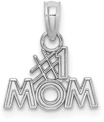 10k White Gold Polished #1 MOM Pendant