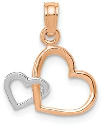 10k Rose & White Gold Polished Intertwined Double Heart Pendant