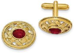 Mens Gold-Tone Textured Red Synthetic Crystal Cuff Links