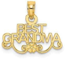 14K Yellow Gold Best Grandma with Flower Pendant