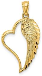 14K Yellow Gold Polished Heart & Wing Pendant