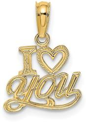 14K Yellow Gold Polished & Textured I Heart You Pendant D3868