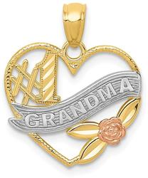 14k Two-tone Gold and Rhodium #1 Grandma Heart Pendant K2672