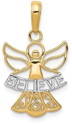 14K Yellow Gold and Rhodium Believe Angel Pendant