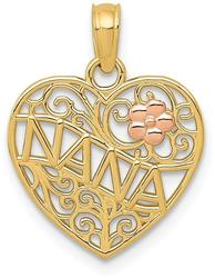 14k Two-tone Gold Polished Nana w/ Flower on Heart Pendant