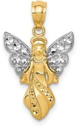14K Yellow Gold and Rhodium Polished & Textured Angel Pendant