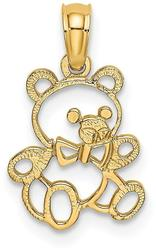 14K Yellow Gold Cut Out Teddy Bear Pendant K6440