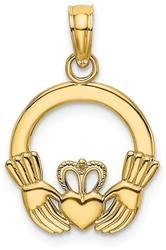 14K Yellow Gold Polished & Textured Round Claddagh Pendant